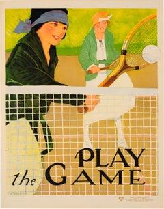 Original Vintage Sport Poster Ft. Tennis - Play The Game - Social Education YWCA