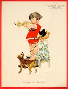 Original Vintage Galeries Lafayette Poster - Chamber Music - Ft Children And Dog