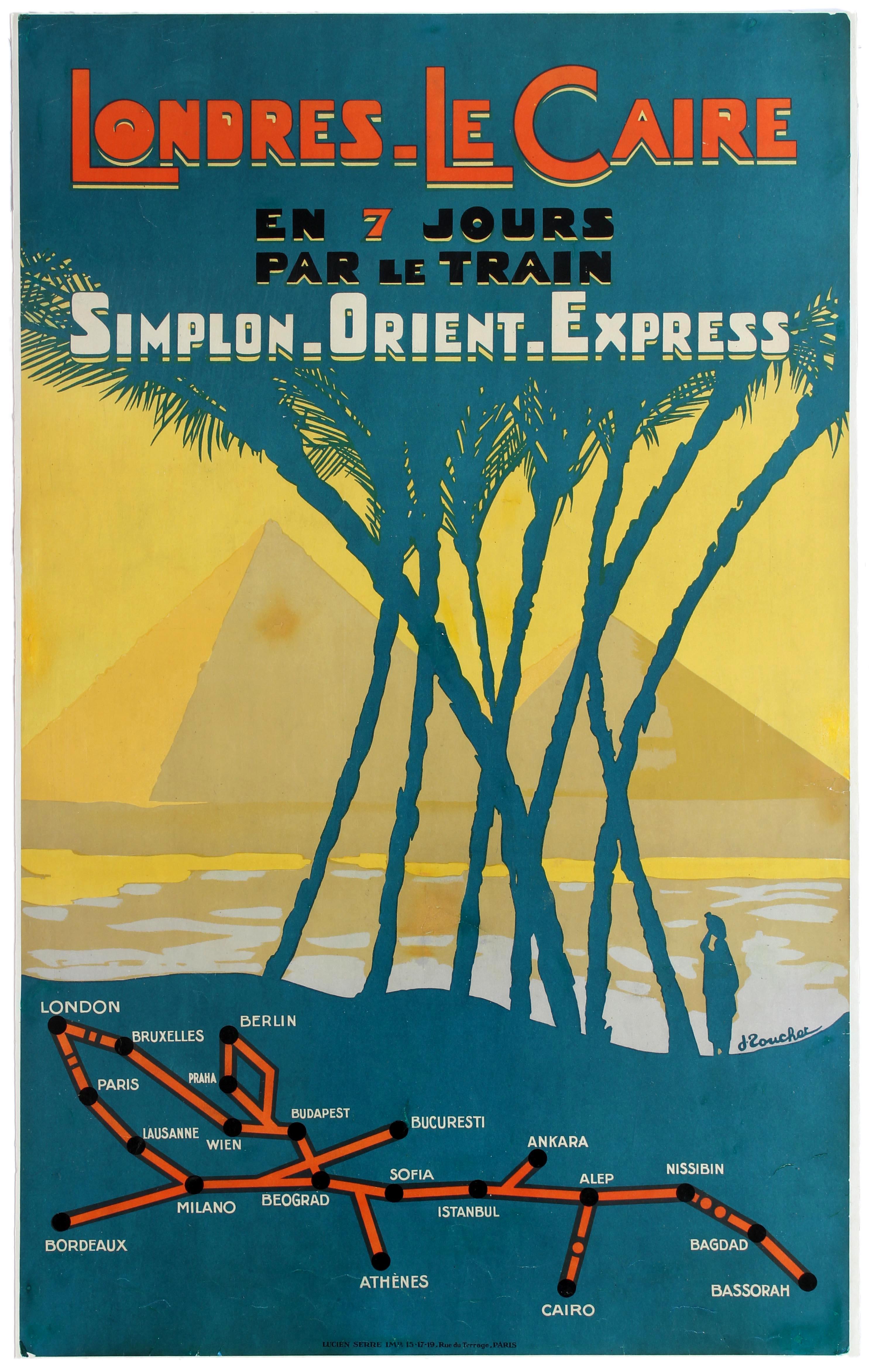 Original Vintage Simplon Orient Express Railway Travel Poster London Cairo Egypt