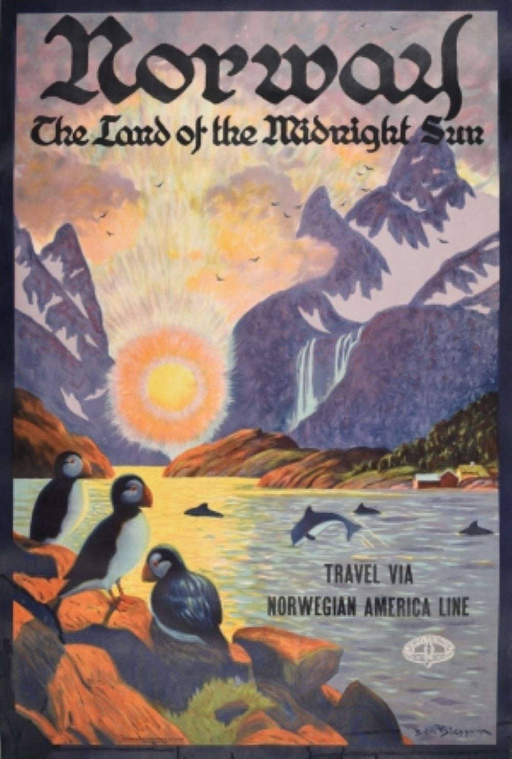 Original Vintage Poster Norway The Land Of The Midnight Sun Travel Fjord Puffins