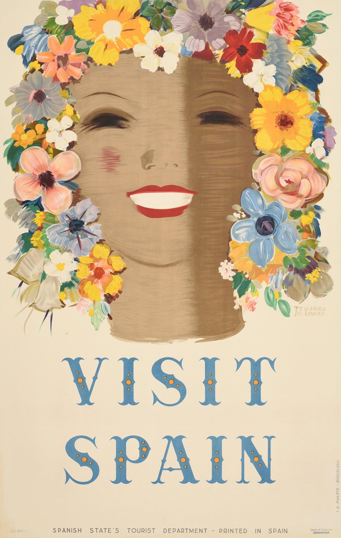Original Vintage Poster Visit Spain Travel Floral Design Flowers Art Typography