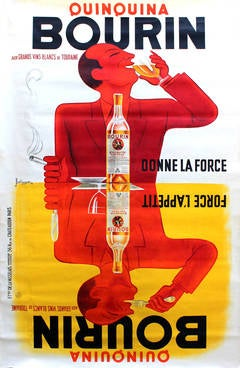 Large Original Vintage Advertising Poster For Quinquina Bourin: Gives Strength