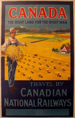 Original Canadian National Railways Poster: Canada, Right Land For The Right Man