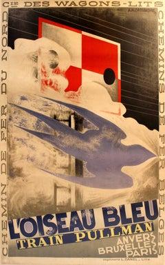 Pullman Trains L'Oiseau Bleu Art Deco Poster by Cassandre 1929