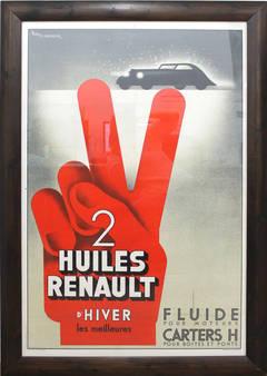 Renault Car Oil Art Deco Poster Fix-Masseau 1934