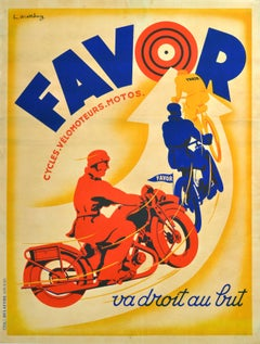 Art Deco Poster Favor Motorcycles Cycles France 1920s