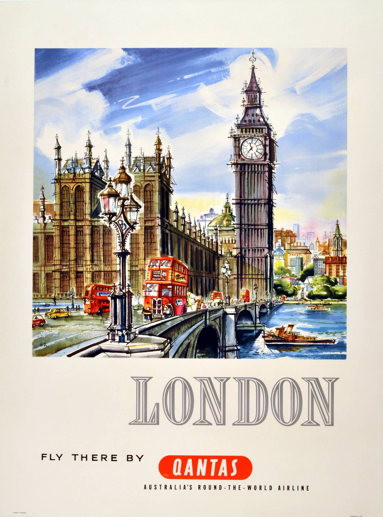 Original Vintage 1950s Travel Advertising Poster: London - Fly There By  Qantas