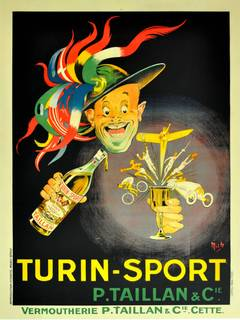 Large Original 1920s Advertising Poster By Mich (Michel Liebeaux): Turin Sport