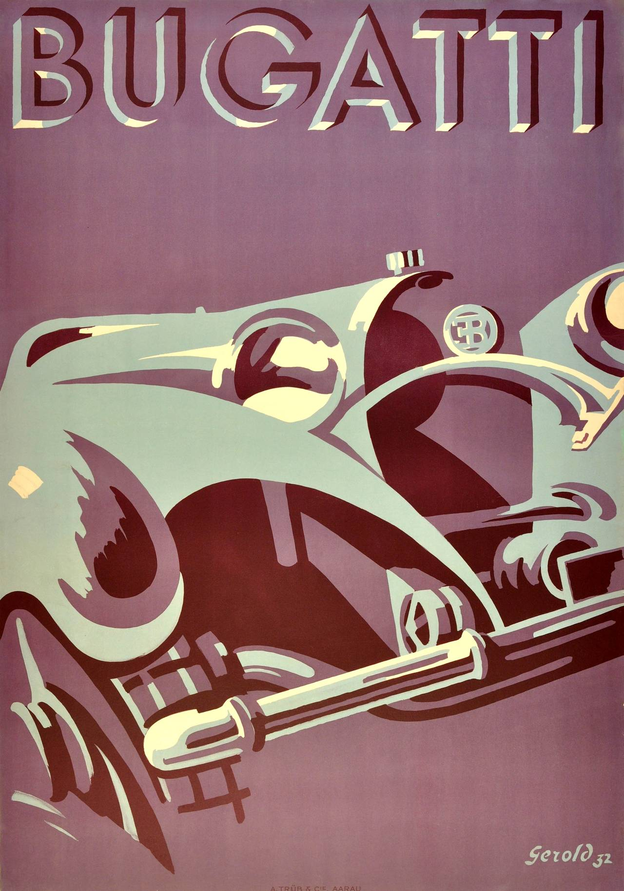 gerold hunziker original iconic art deco bugatti car advertising poster by gerold hunziker. Black Bedroom Furniture Sets. Home Design Ideas