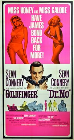 Original Three Sheet James Bond 007 Movie Poster For Dr No And Goldfinger