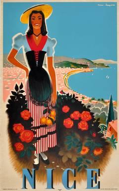 Original Vintage 1950s Travel Poster: Nice, Cote d'Azur (French Riviera), France