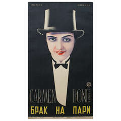 Original Vintage 1928 Russian Avant-Garde Movie Poster, Love's Carnival