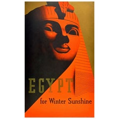 Original Art Deco Travel Poster - Egypt for Winter Sunshine featuring the Sphinx
