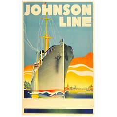 Original Vintage 1930s Art Deco Travel Poster for Johnson Line Cruise Ships