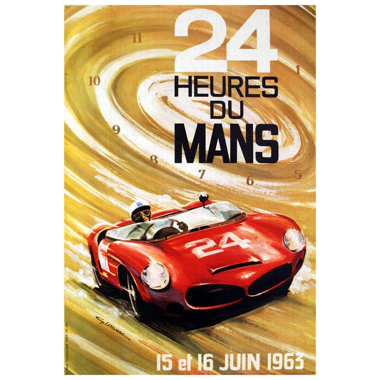 unknown 24 heures du mans 1963 le mans sports car racing poster print at 1stdibs. Black Bedroom Furniture Sets. Home Design Ideas