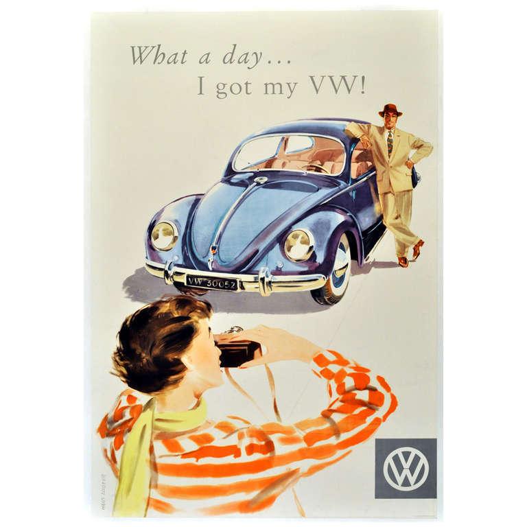 Unknown - Mid-century Volkswagen Beetle car advertising poster ...