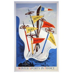 Original Vintage SNCF skiing poster Winter Sports in France - Alps Jura Pyrenees