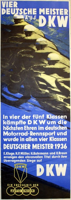 DKW German Championships 1936: original vintage motorcycle racing poster