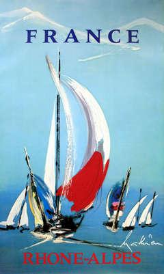 Rhone Alps Sailing - original vintage travel advertising poster, Georges Mathieu
