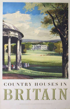 Original vintage travel advertising poster: Country Houses in Britain