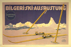 Original vintage skiing poster for Bilgeri featuring the Matterhorn, Zermatt