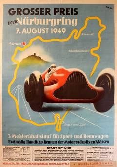 Original Vintage Sports Car Racing Poster For The 1949 Nurburgring Grand Prix