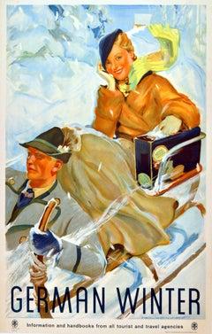 Original Vintage 1930s Travel Advertising Poster - German Winter