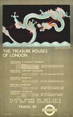 Original vintage 1921 London Underground dragon poster promoting London Museums