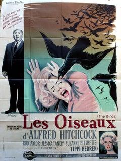 Large original vintage Alfred Hitchcock movie poster for The Birds / Les Oiseaux