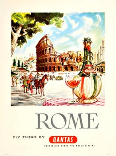 Original Travel Advertising Poster By Harry Rogers: Rome - Fly There By Qantas