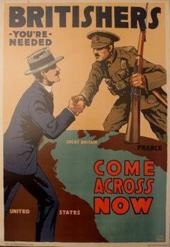 Original Vintage 1917 World War One Propaganda Poster: Britishers You're Needed