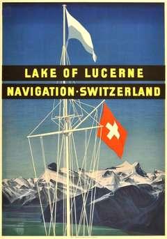 Original vintage sailing poster for Lake of Lucerne Navigation, Switzerland