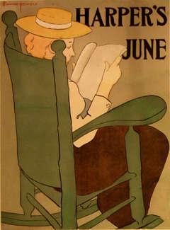 Original vintage advertising poster for Harper's June 1896 by Edward Penfield