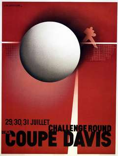 Original vintage Art Deco poster by Cassandre official reissue for the Davis Cup