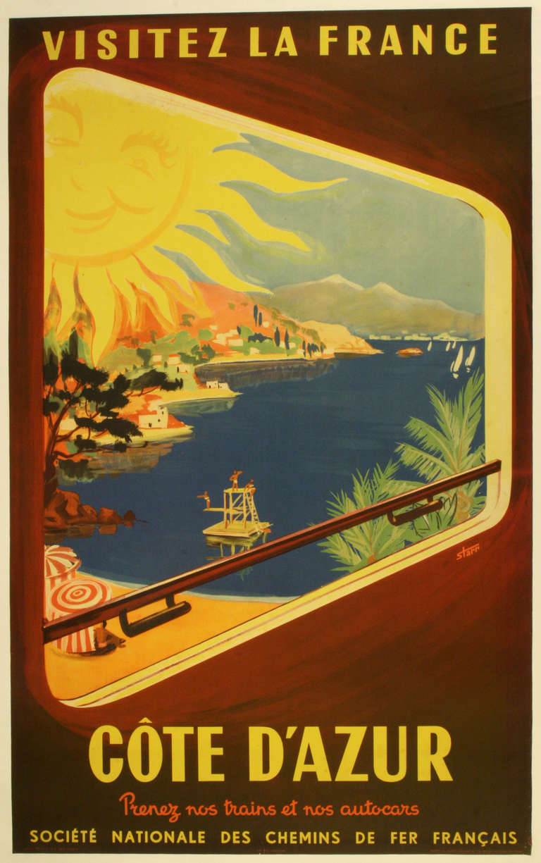 Unknown Original Vintage Poster For The Cote D Azur