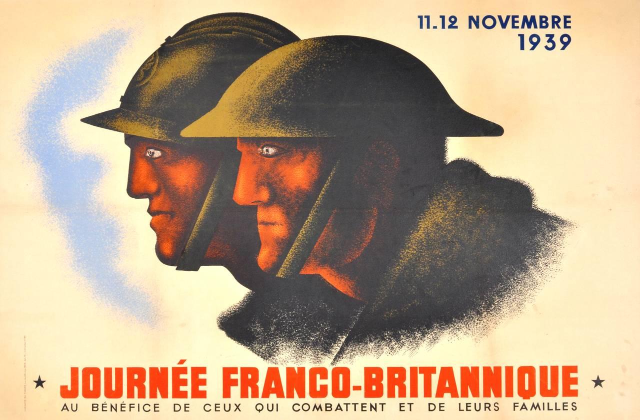 Original Vintage World War Two Poster By Jean Carlu: Franco-British Day, 1939 - Print by Jean Carlu