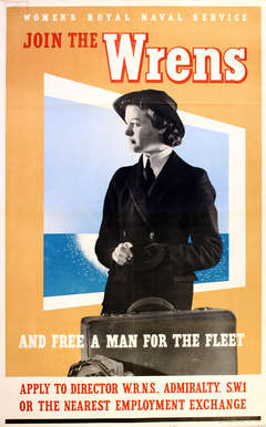 Original vintage World War Two poster Join the WRENs Women's Royal Naval Service