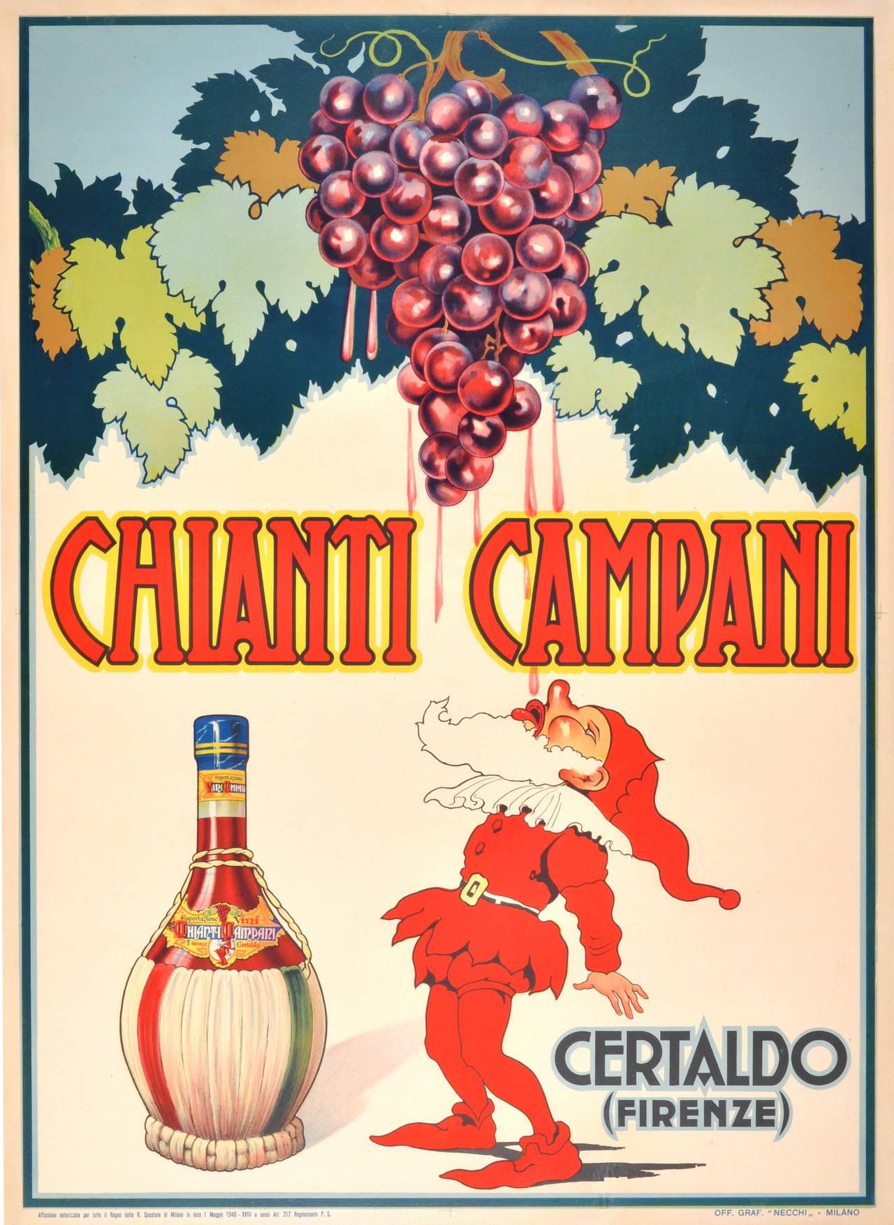 Poster design 1940 - Unknown Original Vintage 1940 Advertising Poster For Chianti Campani Italian Red Wine 1