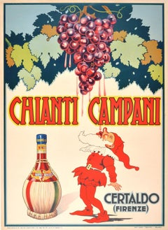 Original Vintage 1940 Advertising Poster For Chianti Campani Italian Red Wine