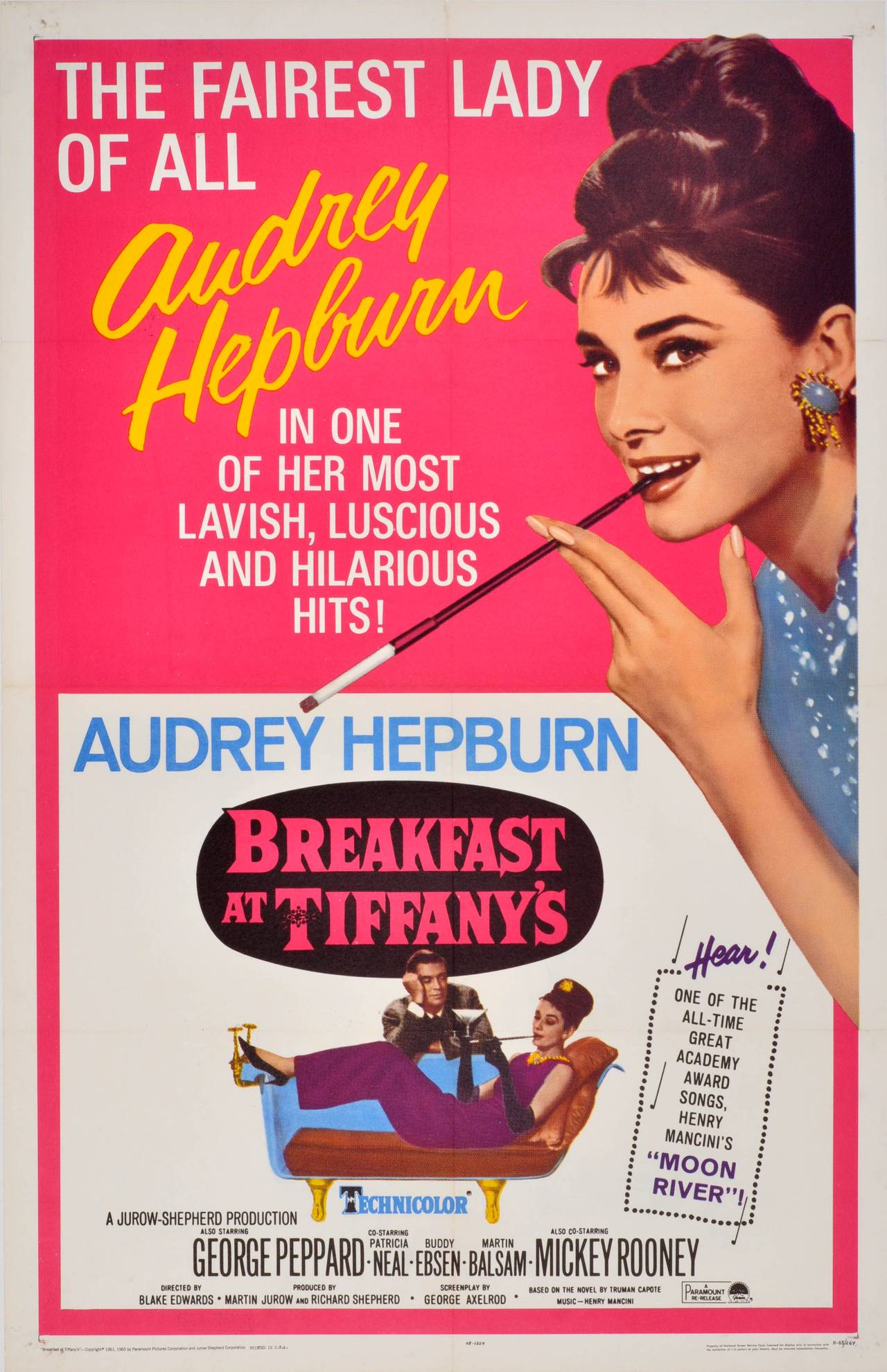 unknown original 1965 movie poster for breakfast at tiffany 39 s starring audrey hepburn print. Black Bedroom Furniture Sets. Home Design Ideas