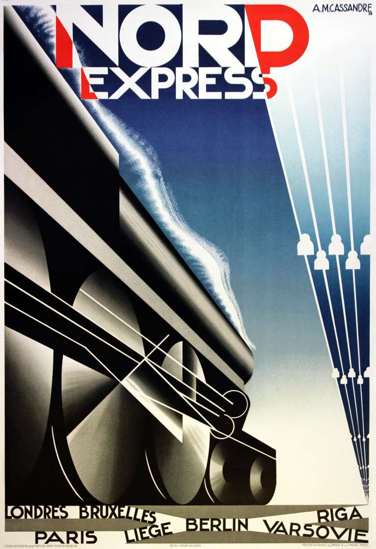cassandre original art deco steam train poster for nord express print at 1stdibs. Black Bedroom Furniture Sets. Home Design Ideas