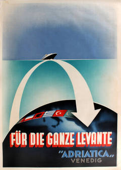 "Original Art Deco Cruise Ship Poster - Fur Die Ganze Levante ""Adriatica"" Venedig"