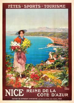 Original Vintage Poster: Nice Reine de la Cote d'Azur - Queen of the Cote d'Azur