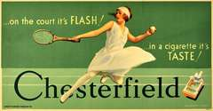Original vintage poster for Chesterfield Cigarettes featuring a tennis player