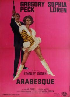 Original Vintage Movie Poster For Arabesque Starring Gregory Peck & Sophia Loren