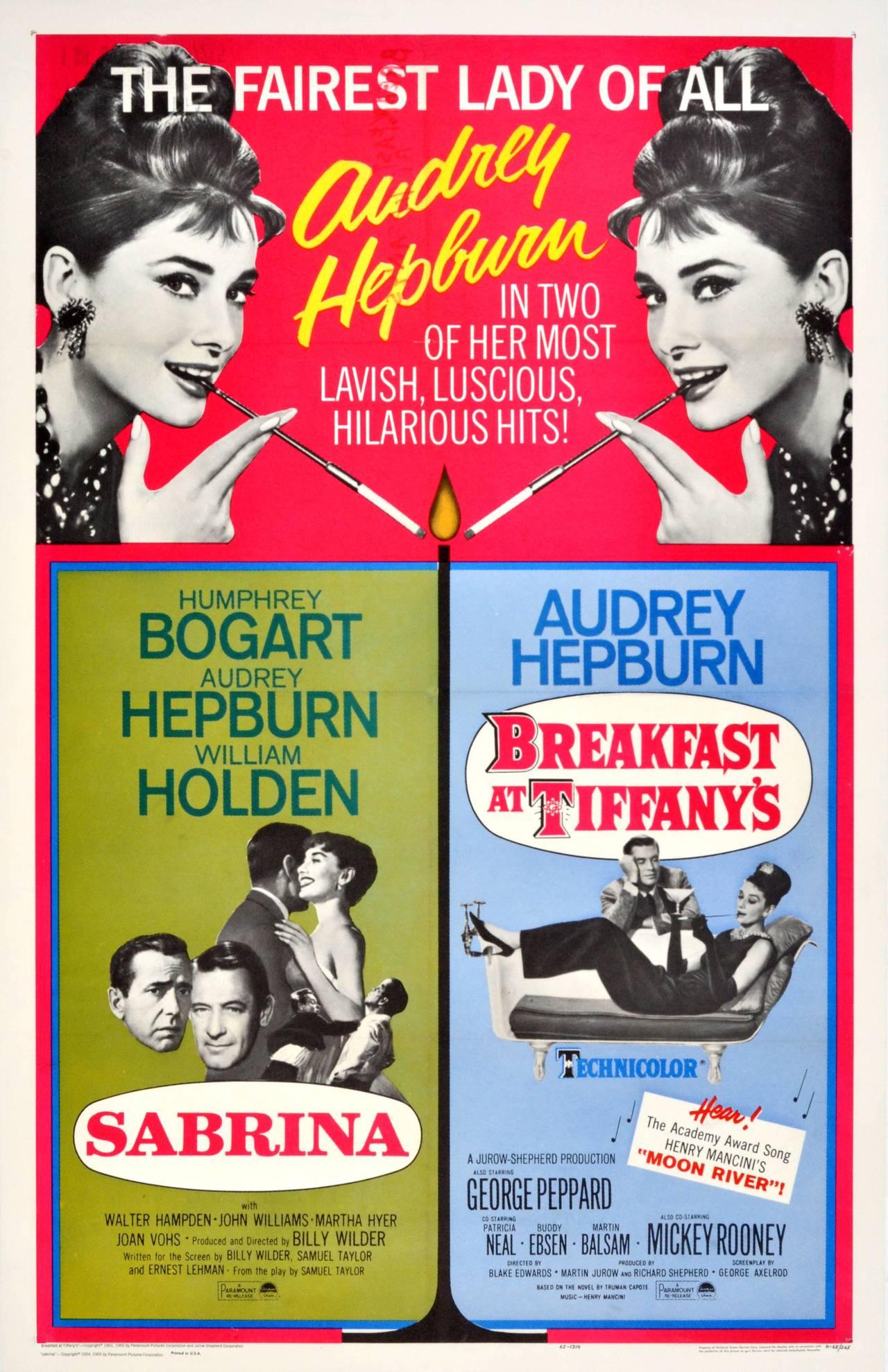 unknown original vintage audrey hepburn film poster for breakfast at tiffany 39 s and sabrina. Black Bedroom Furniture Sets. Home Design Ideas