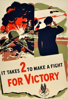 Original WW2 American Airlines Poster - It Takes 2 To Make A Fight For Victory