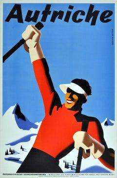 Original Vintage Winter Sport Skiing Poster For Autriche Austria Skier Mountains