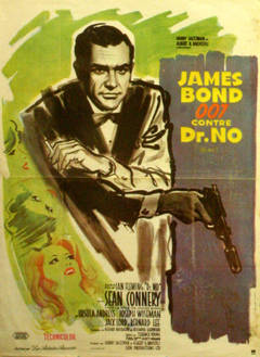 Original vintage 007 movie poster for Dr No starring Sean Connery as James Bond