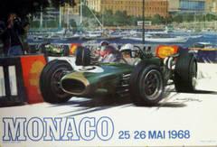 Original vintage poster for the Monaco Grand Prix Formula One, 25/26 May 1968